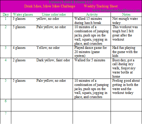 Drink More Move More Sample Tracking Sheet